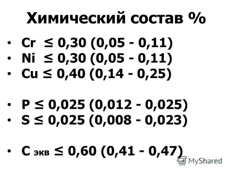 Химический состав % Cr 0,30 (0,05 - 0,11) Ni 0,30 (0,05 - 0,11) Cu 0,40 (0,14 - 0,25) P 0,025 (0,012 - 0,025) S 0,025 (0,008 - 0,023) С экв 0,60 (0,41 - 0,47)