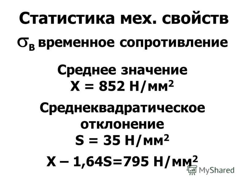 Статистика мех. свойств В временное сопротивление Среднее значение X = 852 Н/мм 2 Среднеквадратическое отклонение S = 35 Н/мм 2 Х – 1,64S=795 Н/мм 2