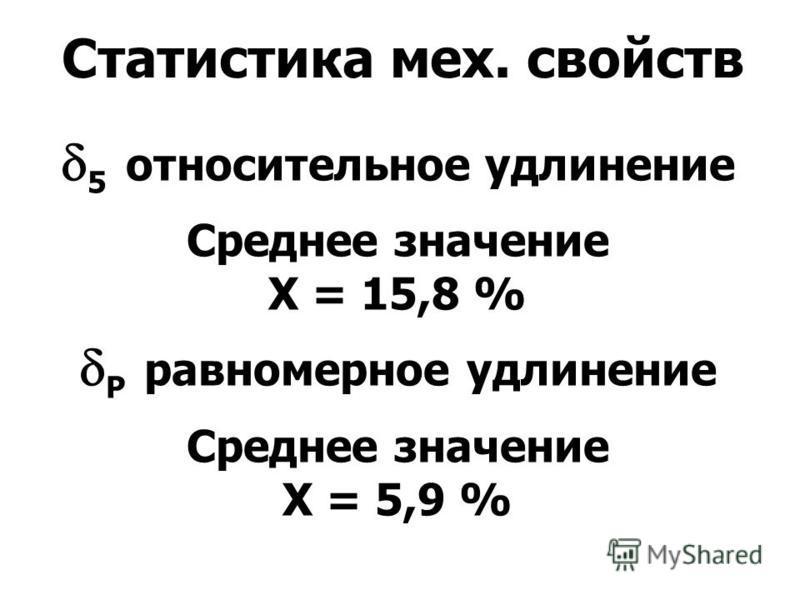 Статистика мех. свойств 5 относительное удлинение Среднее значение X = 15,8 % Р равномерное удлинение Среднее значение X = 5,9 %