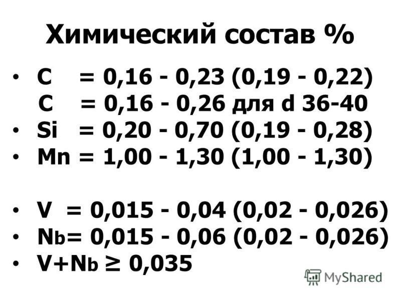Химический состав % С = 0,16 - 0,23 (0,19 - 0,22) C = 0,16 - 0,26 для d 36-40 Si = 0,20 - 0,70 (0,19 - 0,28) Mn = 1,00 - 1,30 (1,00 - 1,30) V = 0,015 - 0,04 (0,02 - 0,026) N b = 0,015 - 0,06 (0,02 - 0,026) V+N b 0,035
