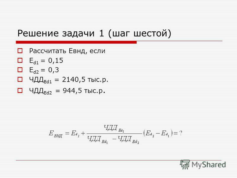 Решение задачи 1 (шаг шестой) Рассчитать Евнд, если Е d1 = 0,15 Е d2 = 0,3 ЧДД Еd1 = 2140,5 тыс.р. ЧДД Еd2 = 944,5 тыс.р.