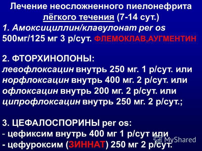 Лечение неосложненного пиелонефрита лёгкого течения (7-14 сут.) 1. Амоксициллин/клавулонат per os 500 мг/125 мг 3 р/сут. ФЛЕМОКЛАВ,АУГМЕНТИН 2. ФТОРХИНОЛОНЫ: левофлоксацин внутрь 250 мг. 1 р/сут. или норфлоксацин внутрь 400 мг. 2 р/сут. или офлоксаци