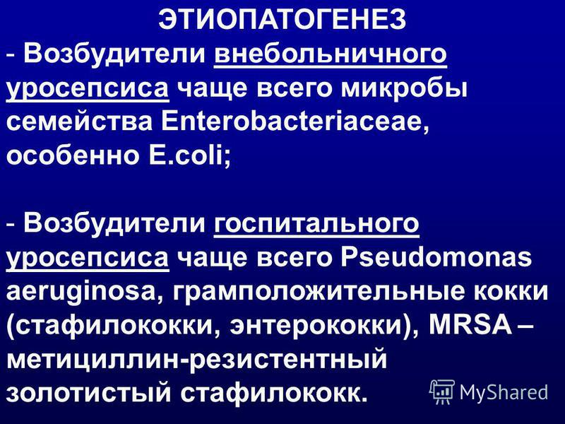 ЭТИОПАТОГЕНЕЗ - Возбудители внебольничного уросепсиса чаще всего микробы семейства Enterobacteriaceae, особенно E.coli; - Возбудители госпитального уросепсиса чаще всего Pseudomonas aeruginosa, грамположительные кокки (стафилококки, энтерококки), MRS