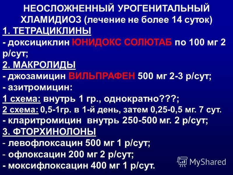 НЕОСЛОЖНЕННЫЙ УРОГЕНИТАЛЬНЫЙ ХЛАМИДИОЗ (лечение не более 14 суток) 1. ТЕТРАЦИКЛИНЫ - доксициклин ЮНИДОКС СОЛЮТАБ по 100 мг 2 р/сут; 2. МАКРОЛИДЫ - джозамицин ВИЛЬПРАФЕН 500 мг 2-3 р/сут; - азитромицин: 1 схема: внутрь 1 гр., однократно???; 2 схема: 0