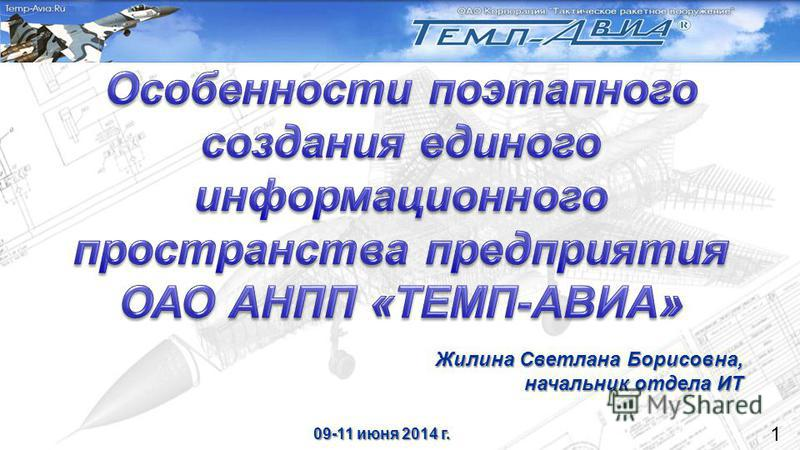 1 Жилина Светлана Борисовна, начальник отдела ИТ 09-11 июня 2014 г.