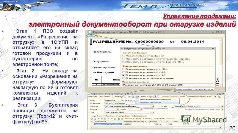 Этап 1 ПЭО создаёт документ «Разрешение на отгрузку» в 1С:УПП и отправляет его на склад готовой продукции и в бухгалтерию по электронной почте; Этап 2 На складе на основании «Разрешения на отгрузку» формируют накладную по УУ и готовят комплекты издел