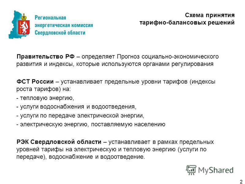 Правительство РФ – определяет Прогноз социально-экономического развития и индексы, которые используются органами регулирования ФСТ России – устанавливает предельные уровни тарифов (индексы роста тарифов) на: - тепловую энергию, - услуги водоснабжения