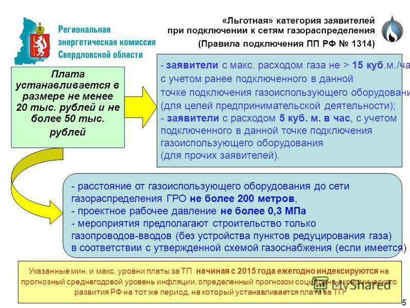 - заявители с макс. расходом газа не > 15 куб.м./час, с учетом ранее подключенного в данной точке подключения газоиспользующего оборудования (для целей предпринимательской деятельности); - заявители с расходом 5 куб. м. в час, с учетом подключенного