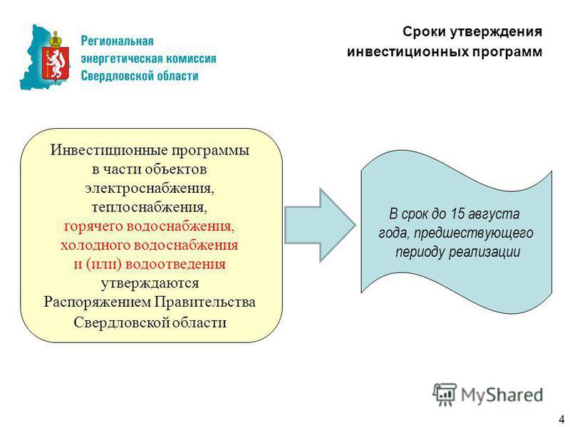 Сроки утверждения инвестиционных программ Инвестиционные программы в части объектов электроснабжения, теплоснабжения, горячего водоснабжения, холодного водоснабжения и (или) водоотведения утверждаются Распоряжением Правительства Свердловской области