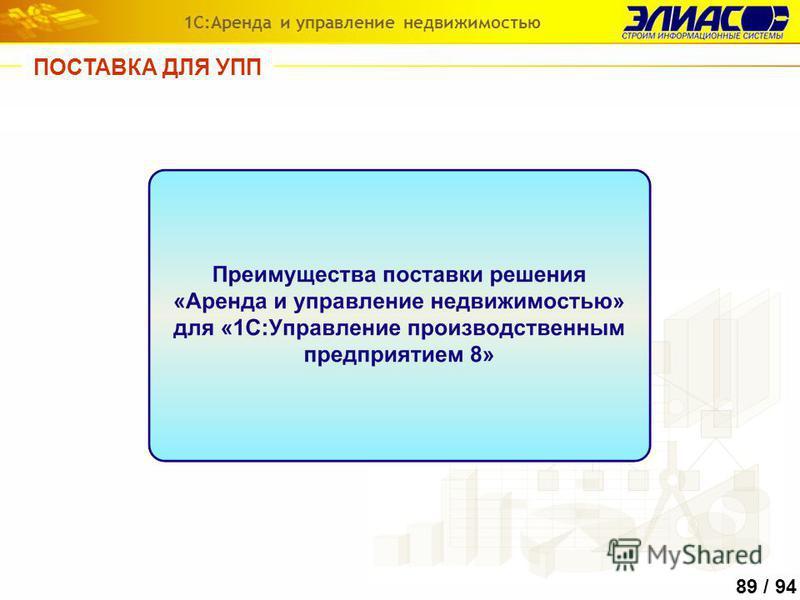 89 / 94 ПОСТАВКА ДЛЯ УПП 1С:Аренда и управление недвижимостью