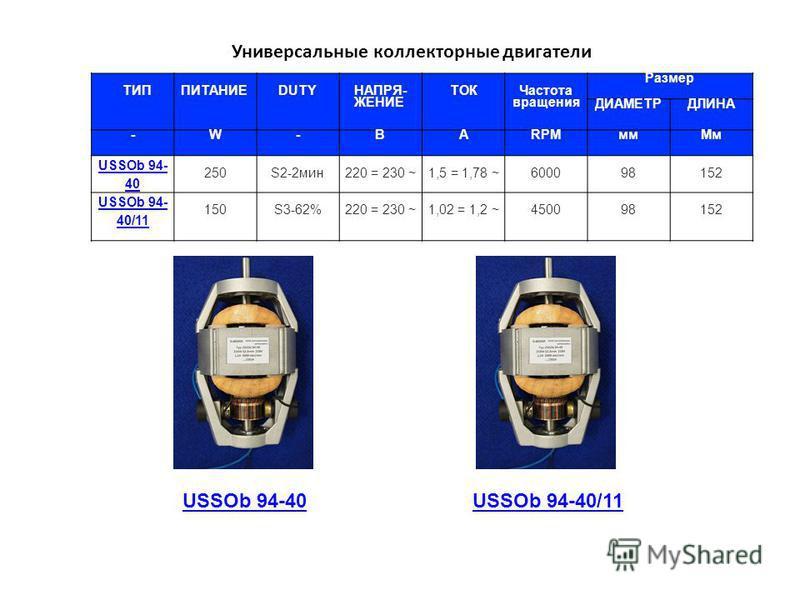 ТИП ПИТАНИЕ DUTYНАПРЯ- ЖЕНИЕ ТОК Частота вращения Размер ДИАМЕТРДЛИНА -W-ВARPMмм Мм USSOb 94- 40 250S2-2 мин 220 = 230 ~1,5 = 1,78 ~600098152 USSOb 94- 40/11 150S3-62%220 = 230 ~1,02 = 1,2 ~450098152 Универсальные коллекторные двигатели USSOb 94-40US