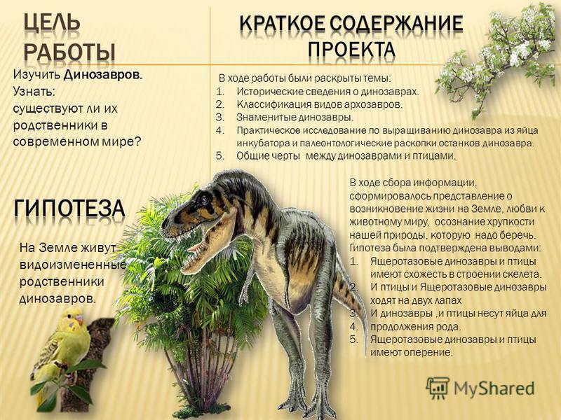 Изучить Динозавров. Узнать: существуют ли их родственники в современном мире? На Земле живут видоизмененные родственники динозавров. В ходе работы были раскрыты темы: 1. Исторические сведения о динозаврах. 2. Классификация видов архозавров. 3. Знамен