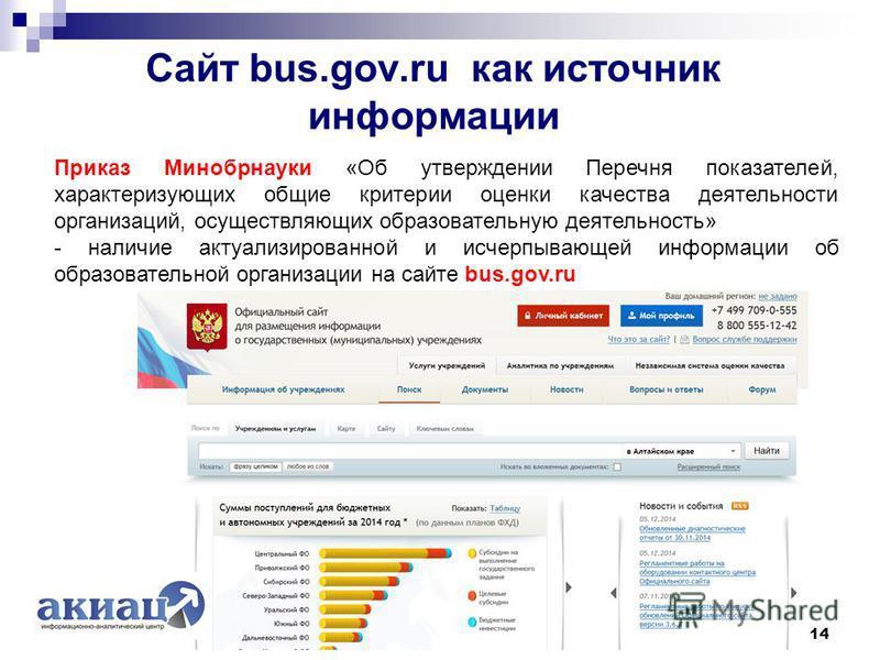 Сайт bus.gov.ru как источник информации 14 Приказ Минобрнауки «Об утверждении Перечня показателей, характеризующих общие критерии оценки качества деятельности организаций, осуществляющих образовательную деятельность» - наличие актуализированной и исч