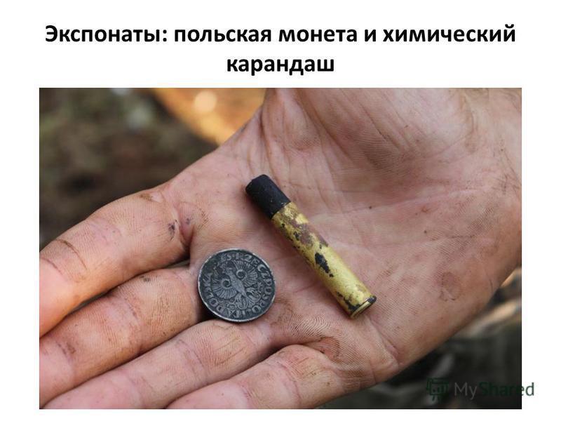 Экспонаты: польская монета и химический карандаш