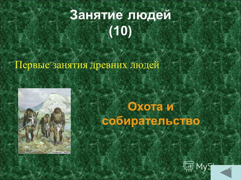 Занятие людей (10) Первые занятия древних людей Охота и собирательство