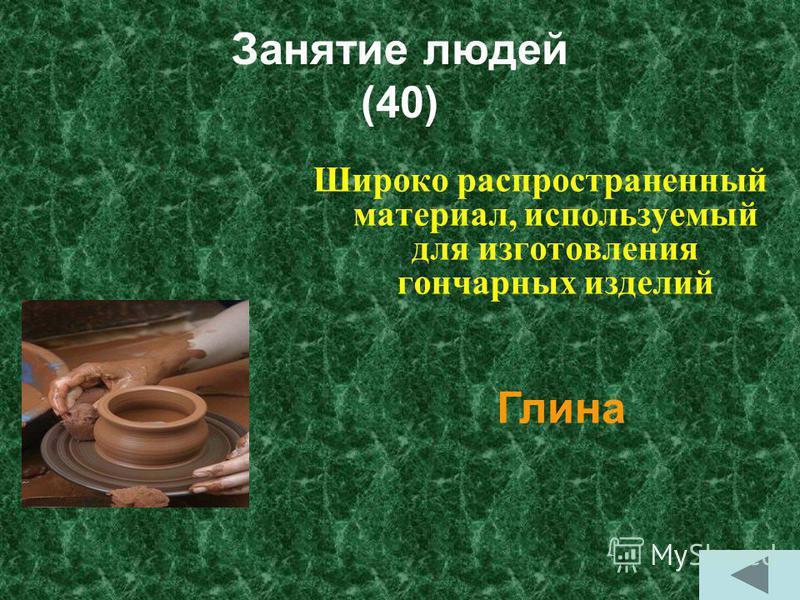 Занятие людей (40) Широко распространенный материал, используемый для изготовления гончарных изделий Глина