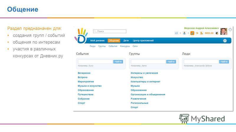 Раздел предназначен для: создания групп / событий общения по интересам участия в различных конкурсах от Дневник.ру