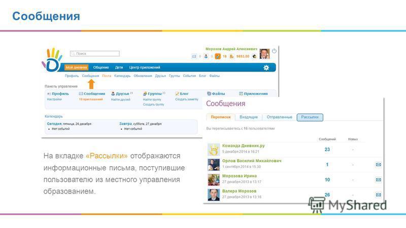 Сообщения На вкладке «Рассылки» отображаются информационные письма, поступившие пользователю из местного управления образованием.