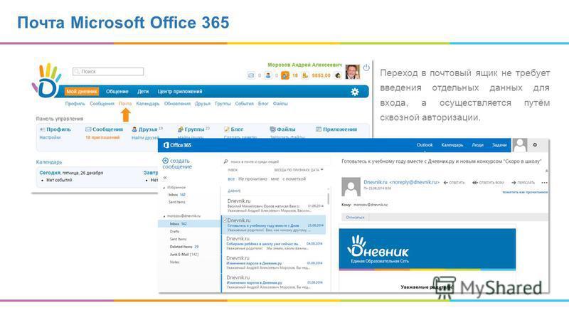 Почта Microsoft Office 365 Переход в почтовый ящик не требует введения отдельных данных для входа, а осуществляется путём сквозной авторизации.