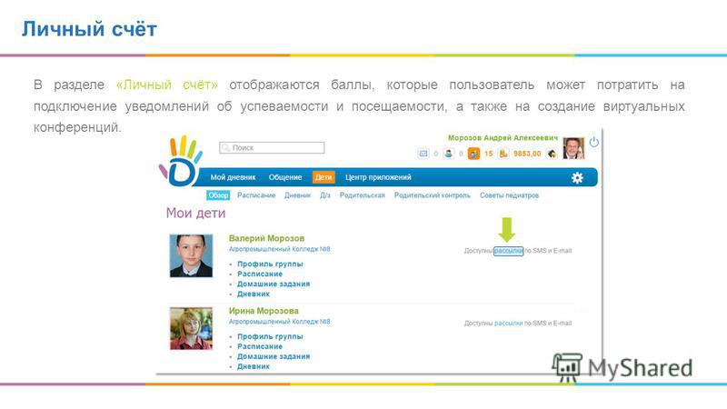 Личный счёт В разделе «Личный счёт» отображаются баллы, которые пользователь может потратить на подключение уведомлений об успеваемости и посещаемости, а также на создание виртуальных конференций.