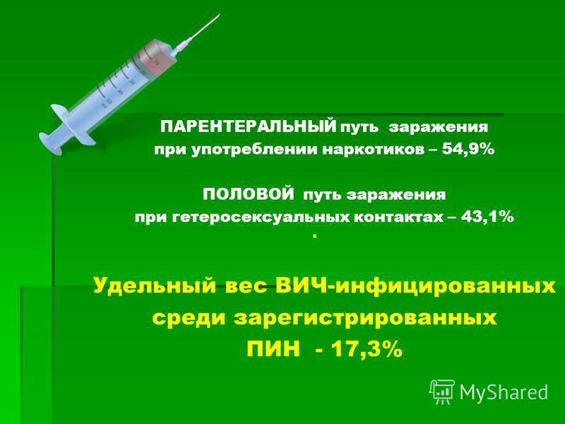 ПАРЕНТЕРАЛЬНЫЙ путь заражения при употреблении наркотиков – 54,9% ПОЛОВОЙ путь заражения при гетеросексуальных контактах – 43,1% Удельный вес ВИЧ-инфицированных среди зарегистрированных ПИН - 17,3%