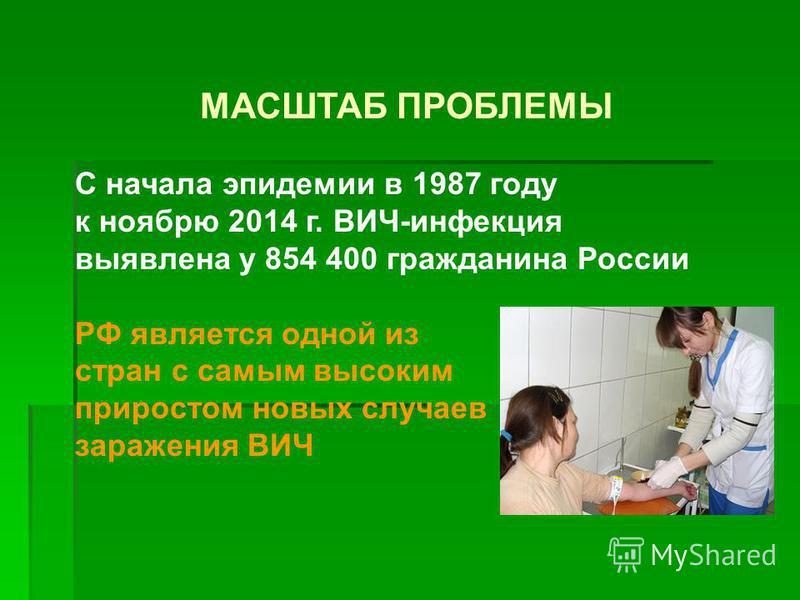 МАСШТАБ ПРОБЛЕМЫ С начала эпидемии в 1987 году к ноябрю 2014 г. ВИЧ-инфекция выявлена у 854 400 гражданина России РФ является одной из стран с самым высоким приростом новых случаев заражения ВИЧ