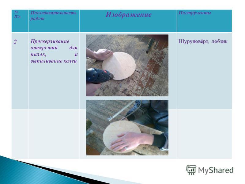 П/п Последовательность работ Изображение Инструменты 2 Просверливание отверстий для пилок, и выпиливание колец Шуруповёрт, лобзик