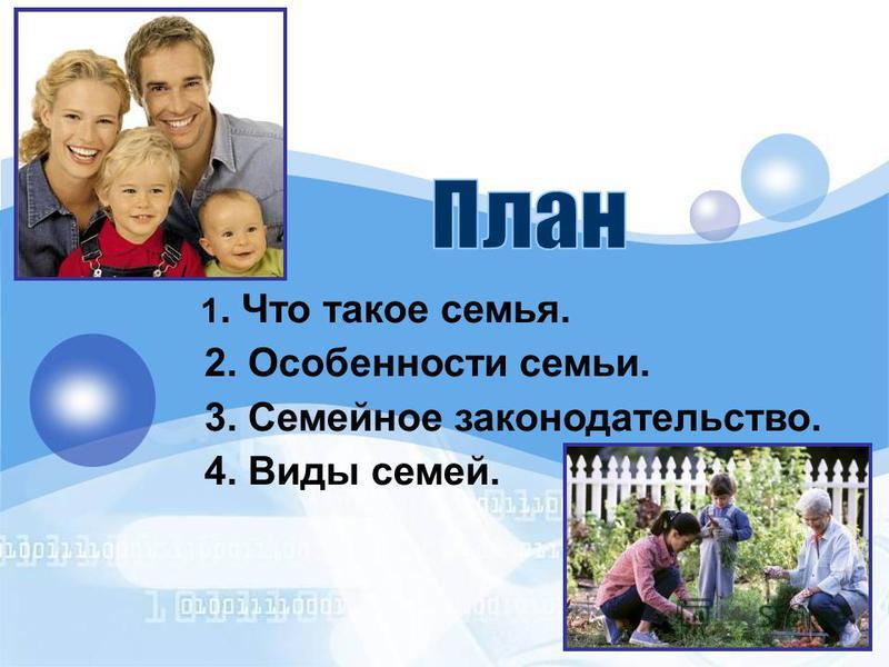 1. Что такое семья. 2. Особенности семьи. 3. Семейное законодательство. 4. Виды семей.