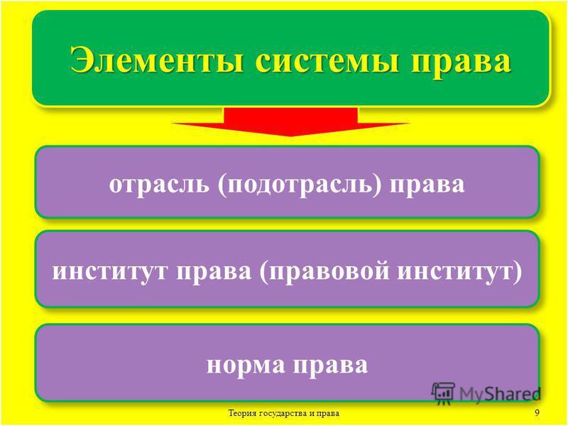 9 Элементы системы права отрасль (подотрасль) права институт права (правовой институт) норма права