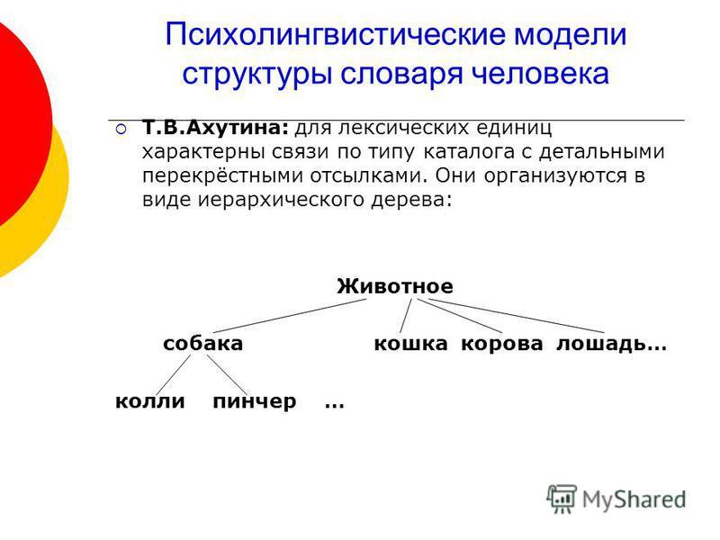 Психолингвистические модели структуры словаря человека Т.В.Ахутина: для лексических единиц характерны связи по типу каталога с детальными перекрёстными отсылками. Они организуются в виде иерархического дерева: Животное собака кошка корова лошадь… кол