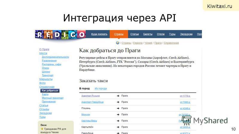 Интеграция через API 10 Kiwitaxi.ru