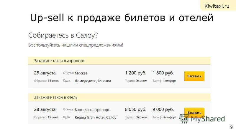 Up-sell к продаже билетов и отелей 9 Kiwitaxi.ru
