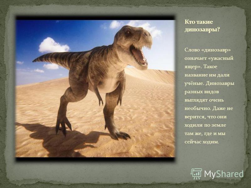 Cлово «динозавр» означает «ужасный ящер». Такое название им дали учёные. Динозавры разных видов выглядят очень необычно. Даже не верится, что они ходили по земле там же, где и мы сейчас ходим.