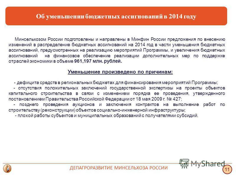 Об уменьшении бюджетных ассигнований в 2014 году Минсельхозом России подготовлены и направлены в Минфин России предложения по внесению изменений в распределение бюджетных ассигнований на 2014 год в части уменьшения бюджетных ассигнований, предусмотре