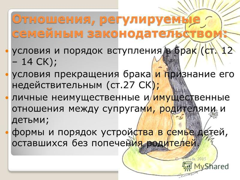 Отношения, регулируемые семейным законодательством: условия и порядок вступления в брак (ст. 12 – 14 СК); условия прекращения брака и признание его недействительным (ст.27 СК); личные неимущественные и имущественные отношения между супругами, родител