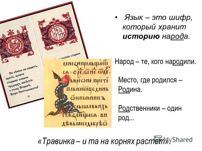 Язык – это шифр, который хранит историю народа. Народ – те, кого народили. Место, где родился – Родина. Родственники – один род... «Травинка – и та на корнях растет».