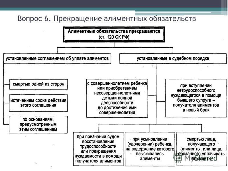 семейный кодекс рф статья 120 прекращение алиментных обязательств собственную