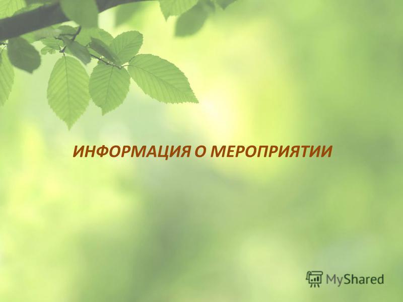 ИНФОРМАЦИЯ О МЕРОПРИЯТИИ