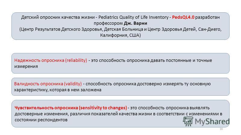 Детский опросник качества жизни - Pediatrics Quality of Life Inventory - PedsQL4.0 разработан профессором Дж. Варни (Центр Результатов Детского Здоровья, Детская Больница и Центр Здоровья Детей, Сан-Диего, Калифорния, США) Надежность опросника (relia