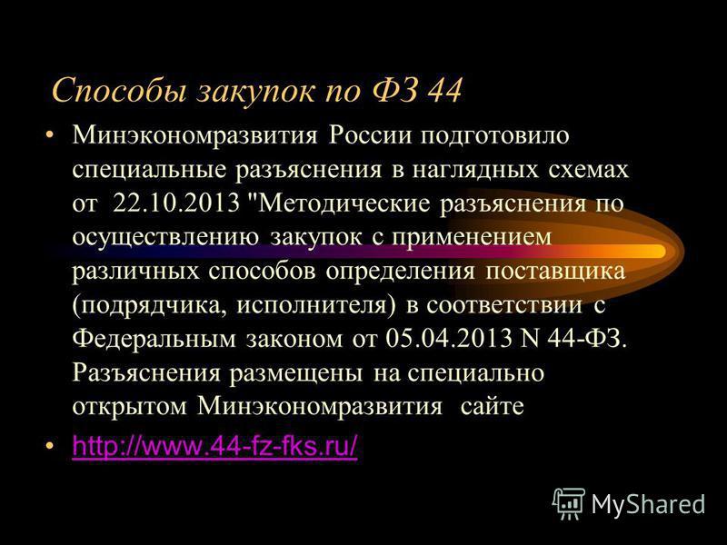 Способы закупок по ФЗ 44 Минэкономразвития России подготовило специальные разъяснения в наглядных схемах от 22.10.2013