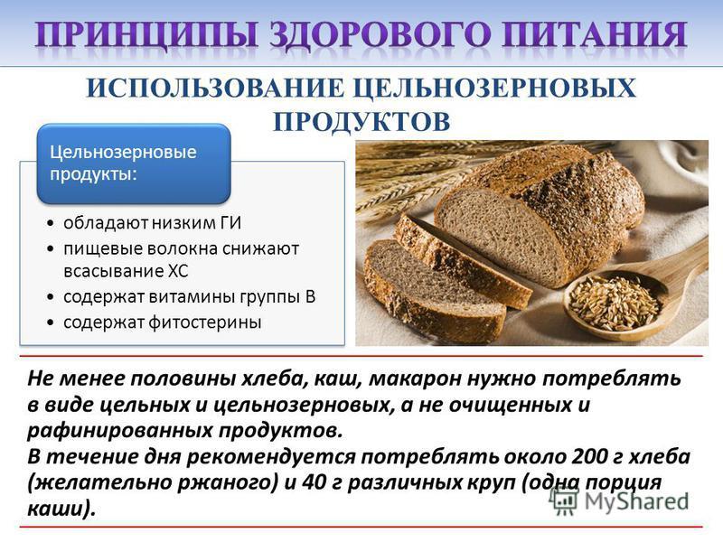 ИСПОЛЬЗОВАНИЕ ЦЕЛЬНОЗЕРНОВЫХ ПРОДУКТОВ Не менее половины хлеба, каш, макарон нужно потреблять в виде цельных и цельнозерновых, а не очищенных и рафинированных продуктов. В течение дня рекомендуется потреблять около 200 г хлеба (желательно ржаного) и