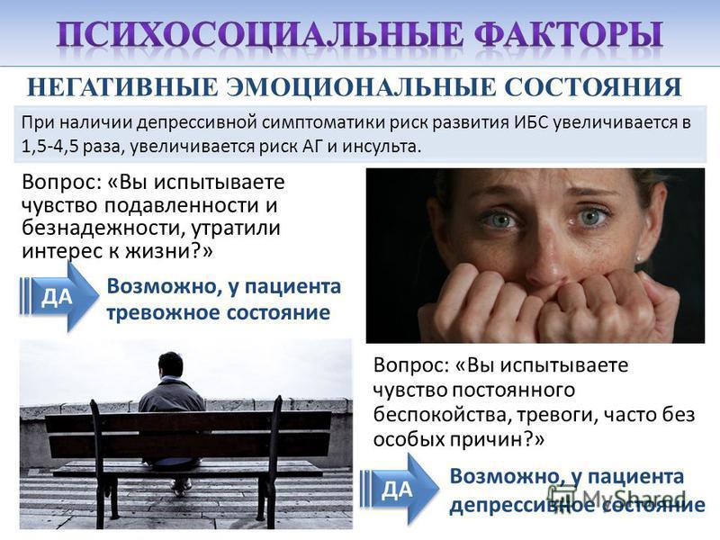 НЕГАТИВНЫЕ ЭМОЦИОНАЛЬНЫЕ СОСТОЯНИЯ Вопрос: «Вы испытываете чувство подавленности и безнадежности, утратили интерес к жизни?» При наличии депрессивной симптоматики риск развития ИБС увеличивается в 1,5-4,5 раза, увеличивается риск АГ и инсульта. ДА Во