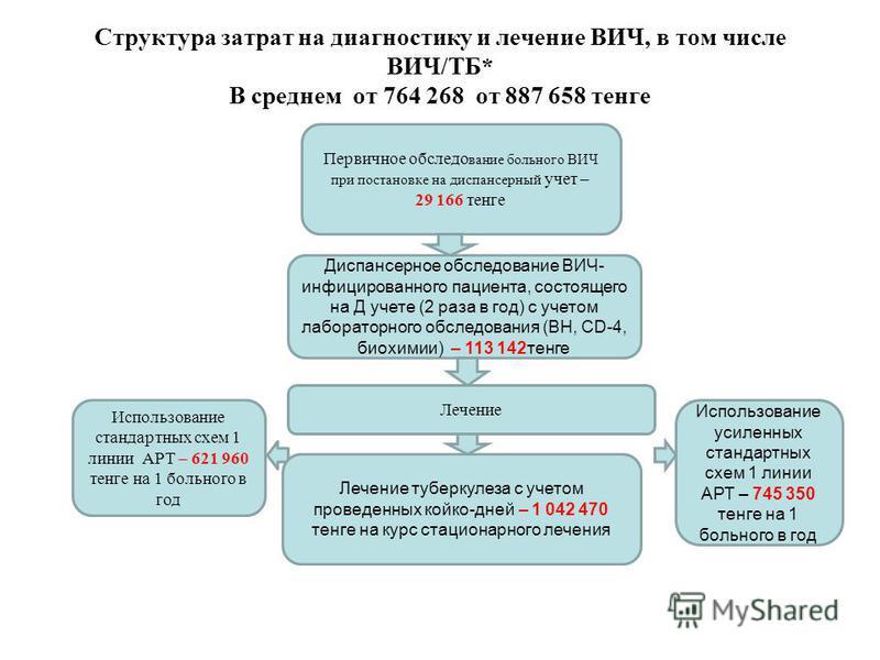 Структура затрат на диагностику и лечение ВИЧ, в том числе ВИЧ/ТБ* В среднем от 764 268 от 887 658 тенге Первичное обследование больного ВИЧ при постановке на диспансерный учет – 29 166 тенге Диспансерное обследование ВИЧ- инфицированного пациента, с