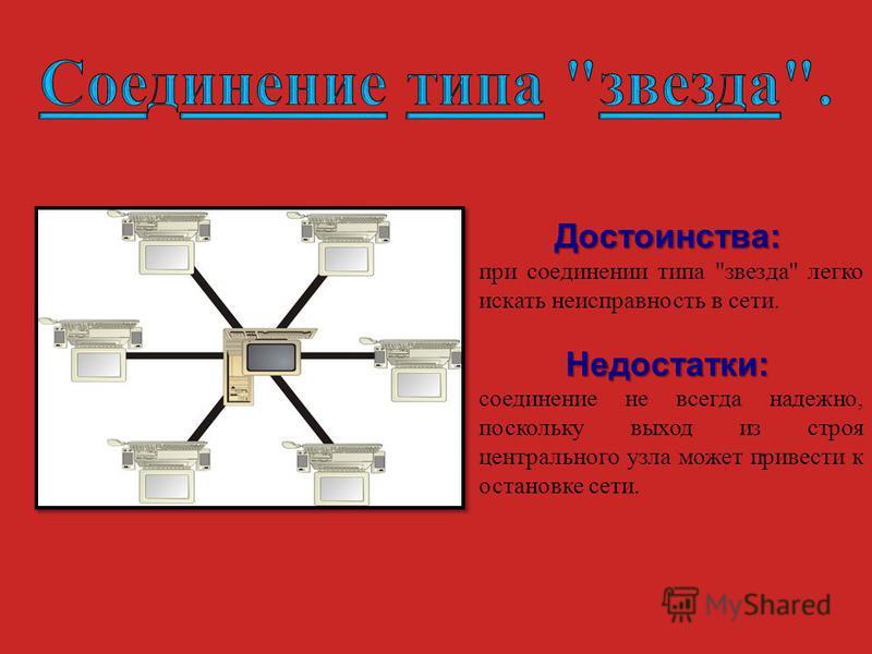 Достоинства: Достоинства: при соединении типа звезда легко искать неисправность в сети. Недостатки: Недостатки: соединение не всегда надежно, поскольку выход из строя центрального узла может привести к остановке сети.