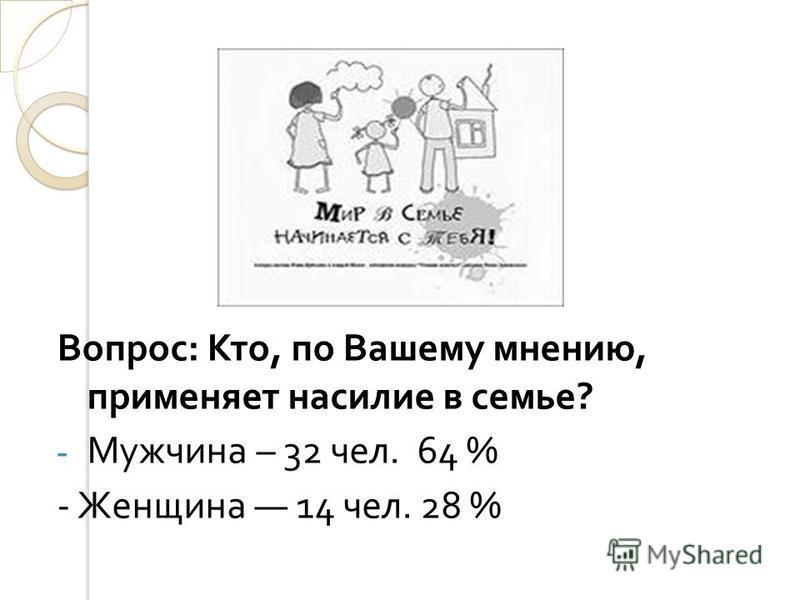 Вопрос : Кто, по Вашему мнению, применяет насилие в семье ? - Мужчина – 32 чел. 64 % - Женщина 14 чел. 28 %