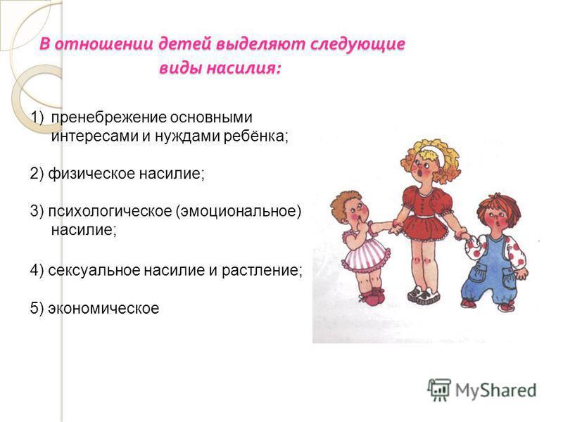 В отношении детей выделяют следующие виды насилия : В отношении детей выделяют следующие виды насилия : 1)пренебрежение основными интересами и нуждами ребёнка; 2) физическое насилие; 3) психологическое (эмоциональное) насилие; 4) сексуальное насилие