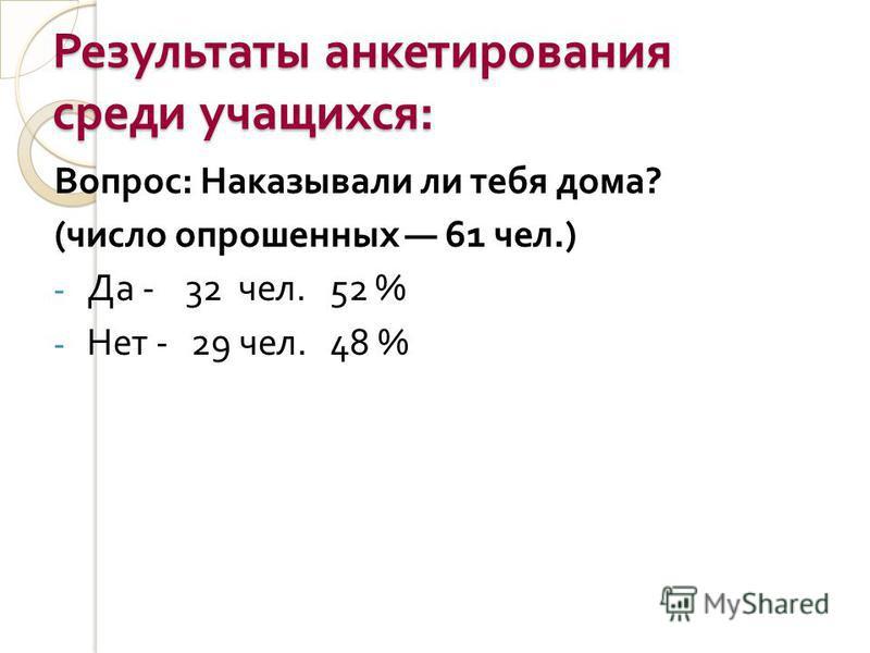 Результаты анкетирования среди учащихся : Вопрос : Наказывали ли тебя дома ? ( число опрошенных 61 чел.) - Да - 32 чел. 52 % - Нет - 29 чел. 48 %