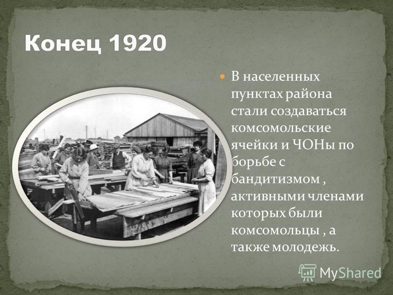 В населенных пунктах района стали создаваться комсомольские ячейки и ЧОНы по борьбе с бандитизмом, активными членами которых были комсомольцы, а также молодежь.