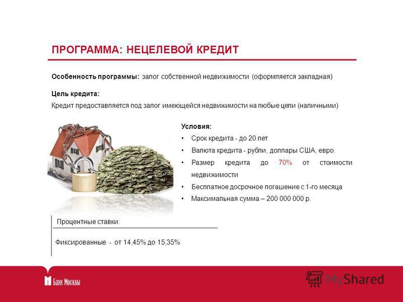 ПРОГРАММА: НЕЦЕЛЕВОЙ КРЕДИТ Фиксированные - от 14,45% до 15,35% Процентные ставки: Цель кредита: Кредит предоставляется под залог имеющейся недвижимости на любые цели (наличными) Особенность программы: залог собственной недвижимости (формляется закла