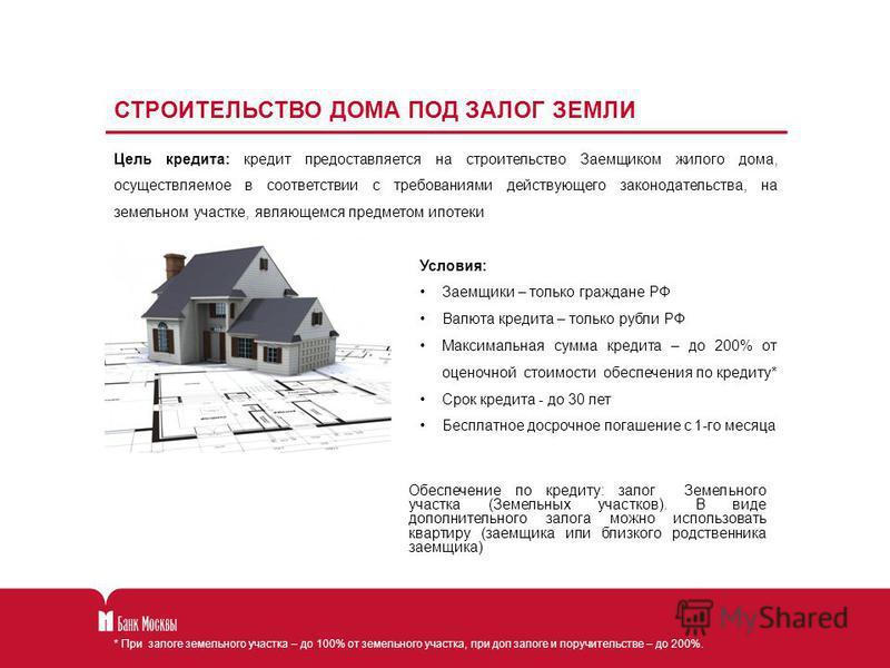 СТРОИТЕЛЬСТВО ДОМА ПОД ЗАЛОГ ЗЕМЛИ Цель кредита: кредит предоставляется на строительство Заемщиком жилого дома, осуществляемое в соответствии с требованиями действующего законодательства, на земельном участке, являющемся предметом ипотеки Условия: За